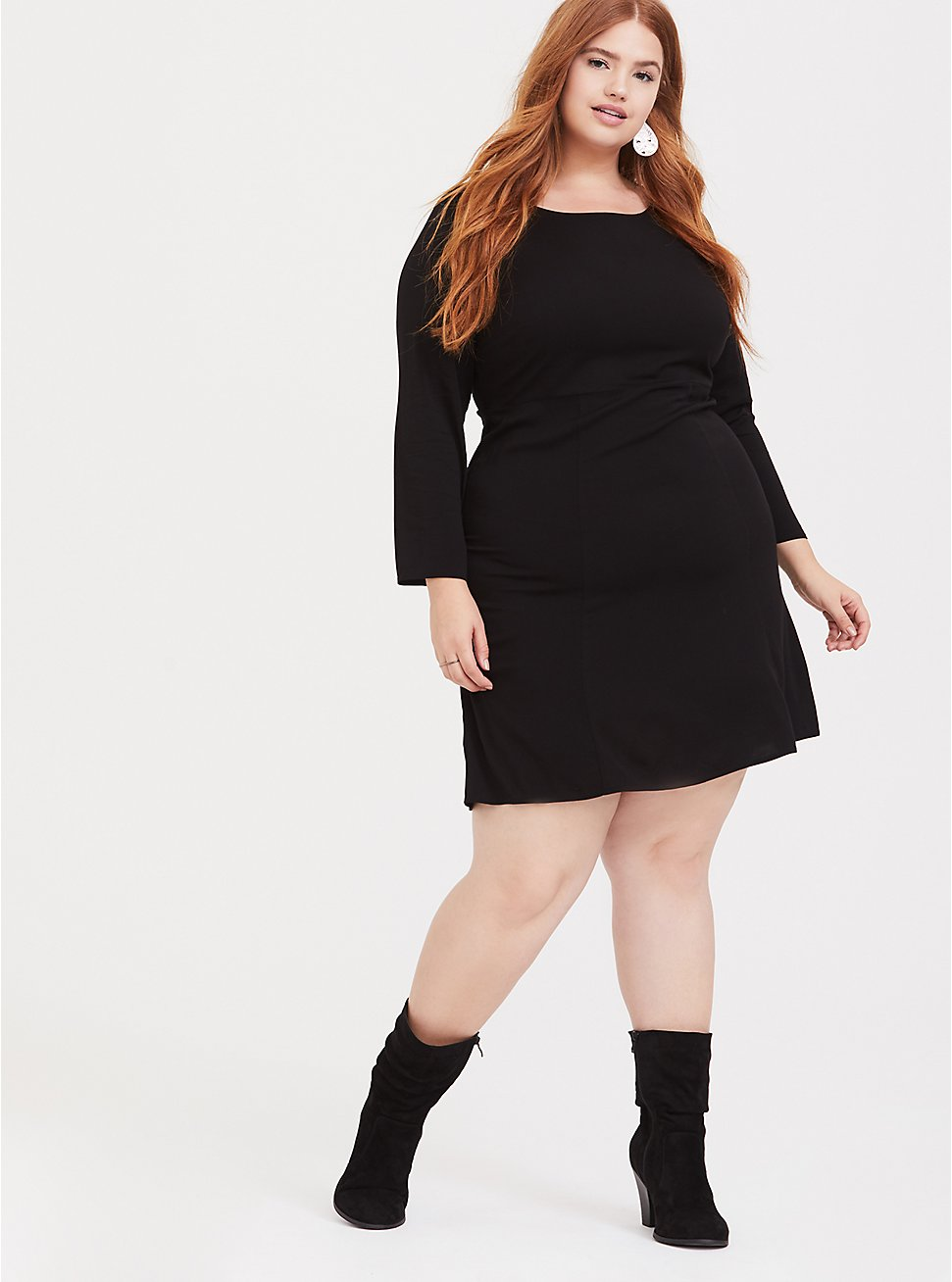 Black Challis Shift Dress, DEEP BLACK, hi-res