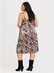 Snakeskin Print Shiny Slip Dress, SNAKE - BROWN, alternate