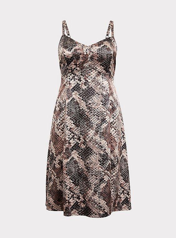 Snakeskin Print Shiny Slip Dress, , flat