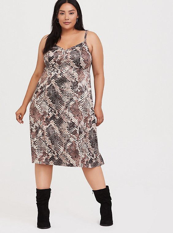 Snakeskin Print Shiny Slip Dress, , hi-res