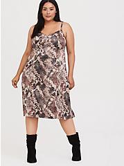 Snakeskin Print Shiny Slip Dress, SNAKE - BROWN, hi-res