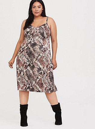 Snakeskin Print Shiny Slip Dress, SNAKE - BROWN, hi-res