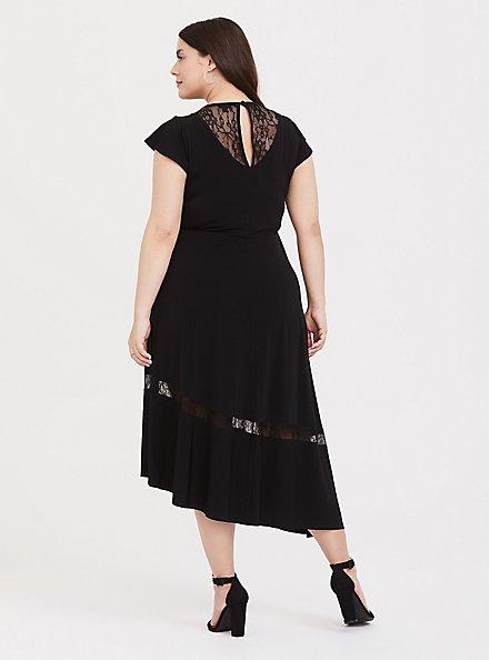 Black Studio Knit Lace Insert Asymmetrical Midi Dress, DEEP BLACK, alternate