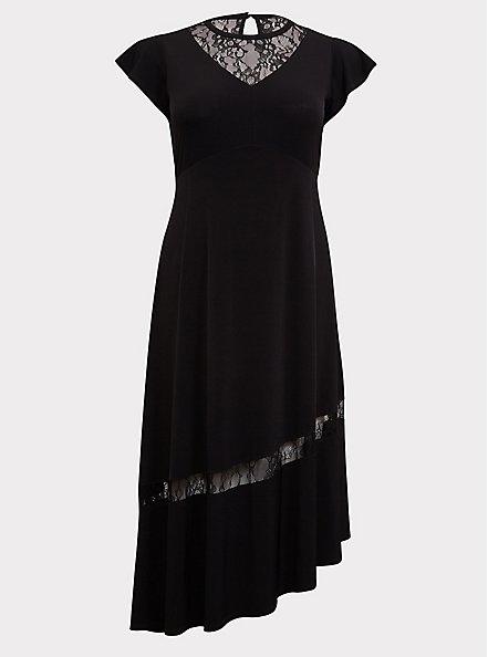 Black Studio Knit Lace Insert Asymmetrical Midi Dress, DEEP BLACK, hi-res
