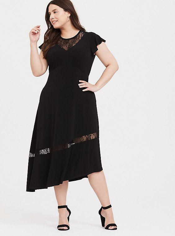 Black Studio Knit Lace Insert Asymmetrical Midi Dress, , hi-res
