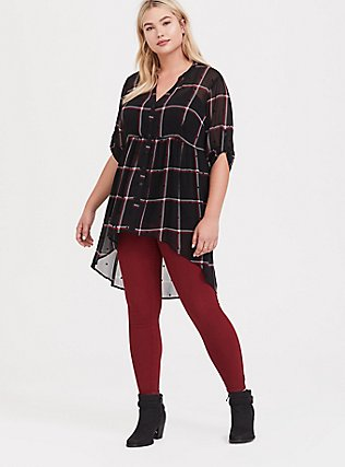 Lexie - Black Plaid Polka Dot Chiffon Babydoll Tunic, PLAID - BLACK, alternate