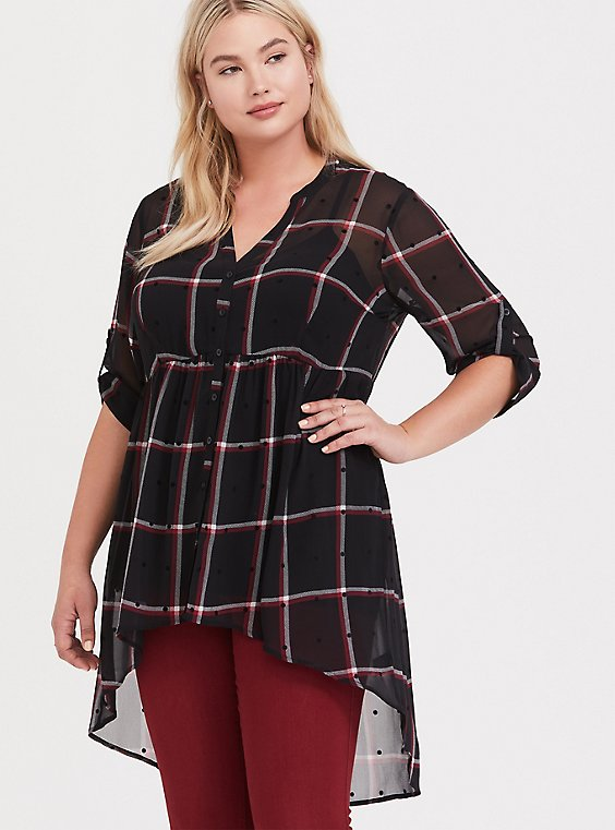 Lexie - Black Plaid Polka Dot Chiffon Babydoll Tunic, , hi-res