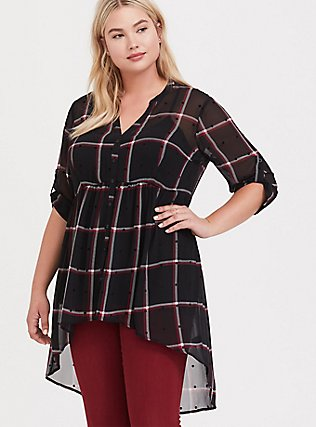 Lexie - Black Plaid Polka Dot Chiffon Babydoll Tunic, PLAID - BLACK, hi-res