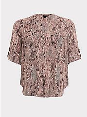 Harper - Snakeskin Print Georgette Pullover Blouse, SNAKE - BROWN, hi-res