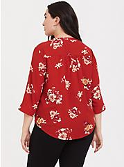 Harper - Dark Red Floral Georgette Button-Loop Blouse, MULTI, alternate