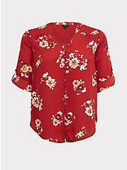 Harper - Dark Red Floral Georgette Button-Loop Blouse, MULTI, hi-res