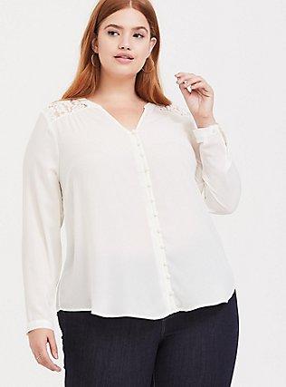 Harper - White Georgette & Lace Button-Loop Blouse, CLOUD DANCER, alternate