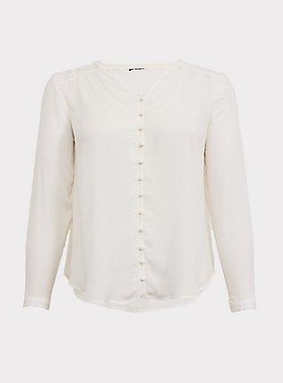 Harper - White Georgette & Lace Button-Loop Blouse, CLOUD DANCER, flat