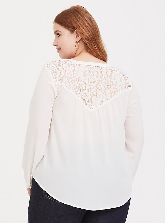 Harper - White Georgette & Lace Button-Loop Blouse, , hi-res