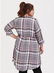Lexie - Grey & Pink Plaid Twill Hi-Lo Babydoll Tunic, PLAID - GREY, alternate