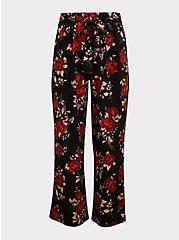 Black & Red Floral Wide Leg Pant, ROSE PRINT, hi-res