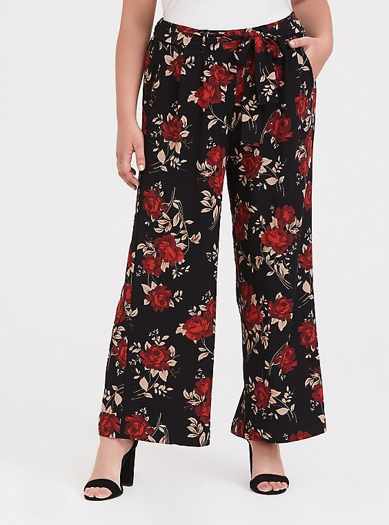 Black & Red Floral Wide Leg Pant, , hi-res