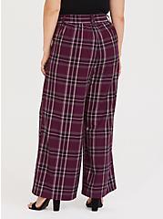 Burgundy Purple Plaid Wide Leg Pant, FESTIVAL PLAID, alternate