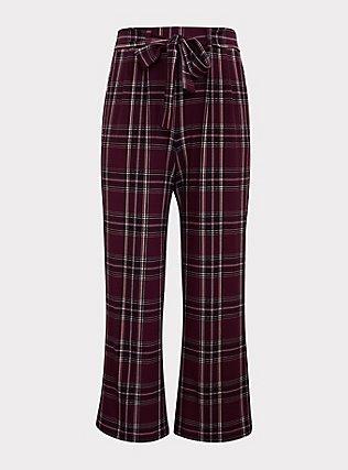 Burgundy Purple Plaid Wide Leg Pant, FESTIVAL PLAID, flat