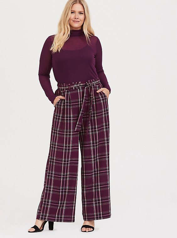 Burgundy Purple Plaid Wide Leg Pant, , hi-res