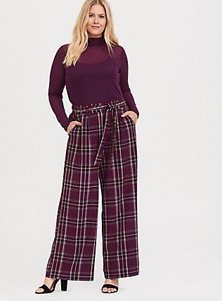 Burgundy Purple Plaid Wide Leg Pant, FESTIVAL PLAID, hi-res