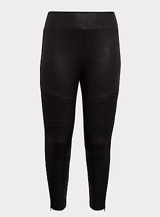 Studio Ponte Moto Slim Fix Pixie Pant - Black, DEEP BLACK, flat