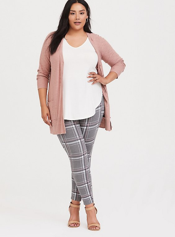 Studio Ponte Slim Fix Pixie Pant - Grey Plaid, , hi-res