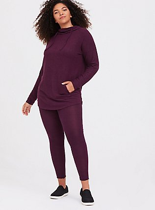 Plus Size Platinum Legging - Super Soft Burgundy Purple , PURPLE, alternate