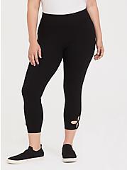 Crop Premium Legging - Cutout Hem Black, BLACK, alternate