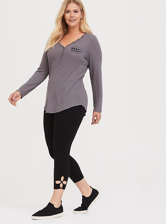 Crop Premium Legging - Cutout Hem Black, , hi-res