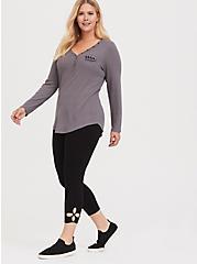 Crop Premium Legging - Cutout Hem Black, BLACK, hi-res