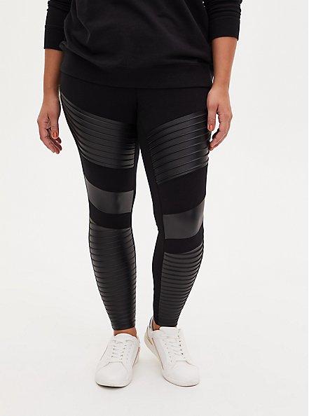 Platinum Legging – Moto Faux Leather Black, BLACK, alternate