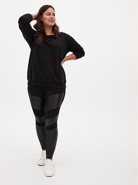 Platinum Legging – Moto Faux Leather Black, BLACK, hi-res