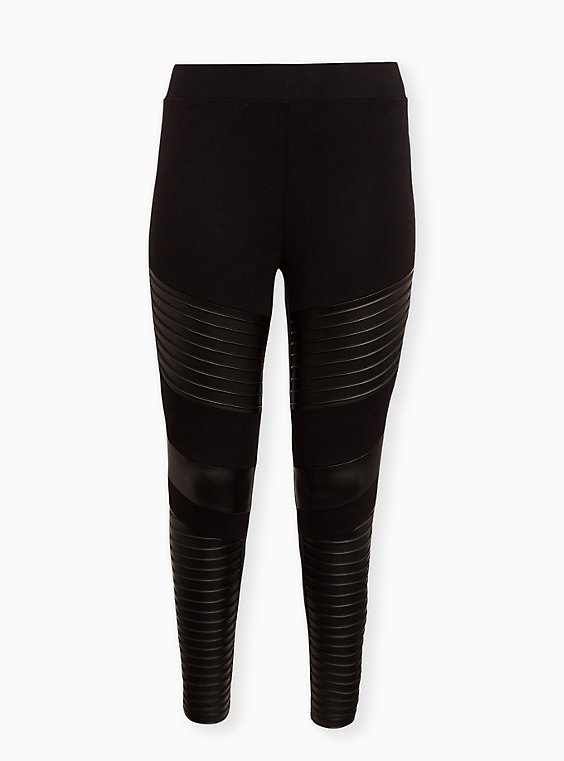 Platinum Legging – Moto Faux Leather Black, BLACK, ls