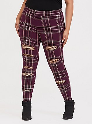 Premium Legging - Slashed Fishnet Underlay Plaid Burgundy Purple , MULTI, hi-res