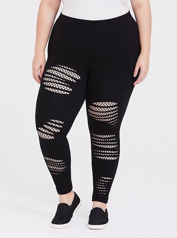 Platinum Slim Fix Legging – Slashed Fishnet Underlay Black, , hi-res