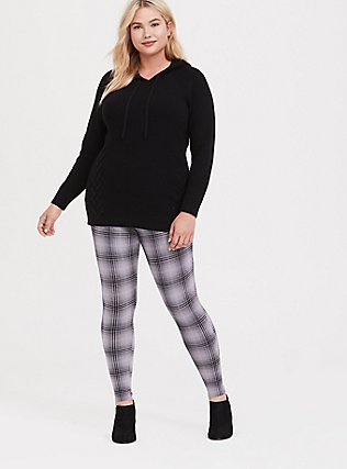 Plus Size Slim Fix Premium Legging - Plaid Grey, MULTI, alternate
