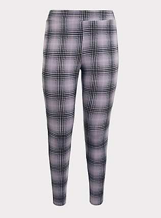 Plus Size Slim Fix Premium Legging - Plaid Grey, MULTI, flat
