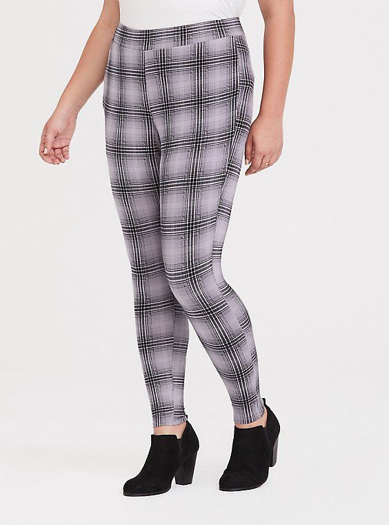 Grey Plaid Slim Fix Legging, , hi-res