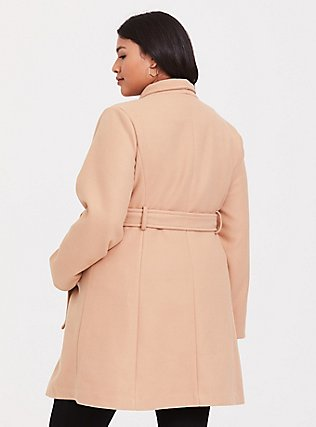 Tan Brushed Asymmetrical A-Line Coat, CAMEL, alternate