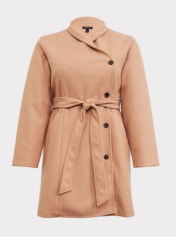 Tan Brushed Asymmetrical A-Line Coat, , flat