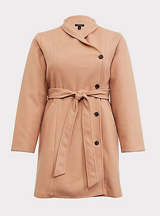 Tan Brushed Asymmetrical A-Line Coat, CAMEL, flat