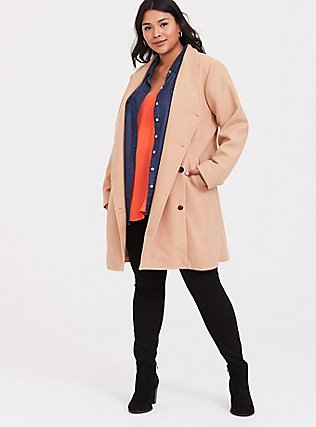 Tan Brushed Asymmetrical A-Line Coat, CAMEL, hi-res