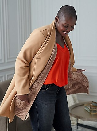 Tan Brushed Asymmetrical A-Line Coat, CAMEL, pdped