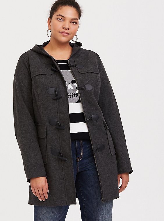 Dark Grey Brushed Hooded Toggle Coat, , hi-res