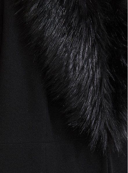 Plus Size Black Woolen Faux Fur Collar A-line Coat, DEEP BLACK, alternate
