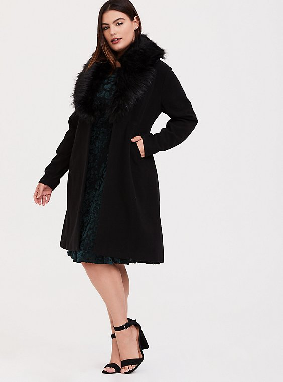 Black Woolen Faux Fur Collar A-line Coat, , hi-res