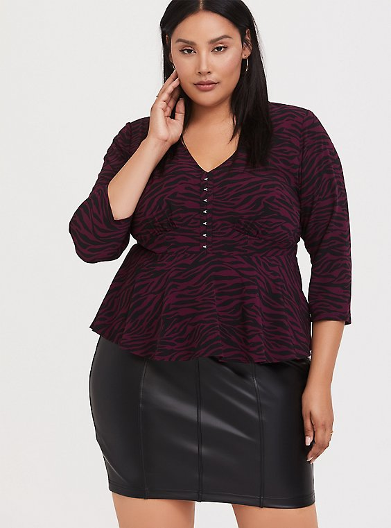 Plus Size Burgundy Purple Zebra Chablis Crop Peplum Top, , hi-res