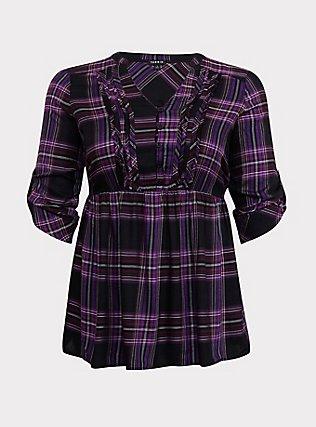 Purple Plaid Twill Pintuck Babydoll Top, PLAID - PURPLE, flat