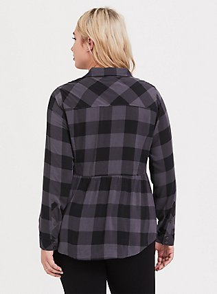 Grey Plaid Challis Button Front Shirt, PLAID - GREY, alternate